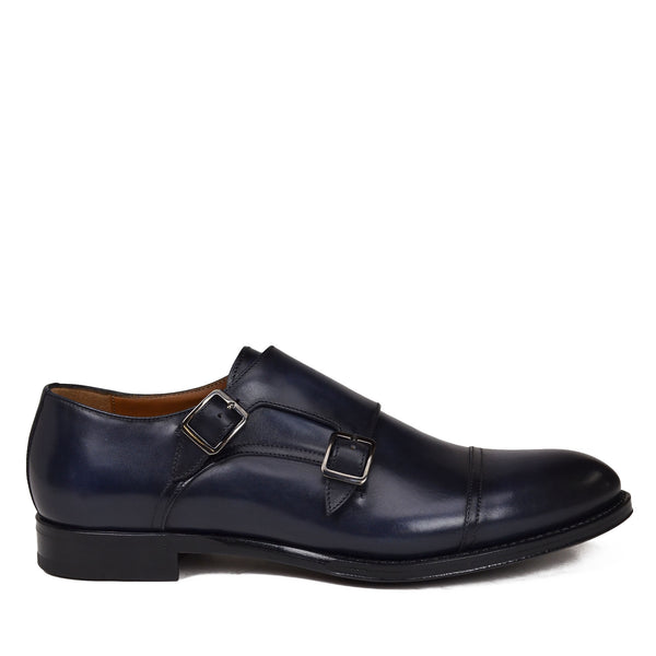 Tedesco Leather Monk Strap - Navy Leather