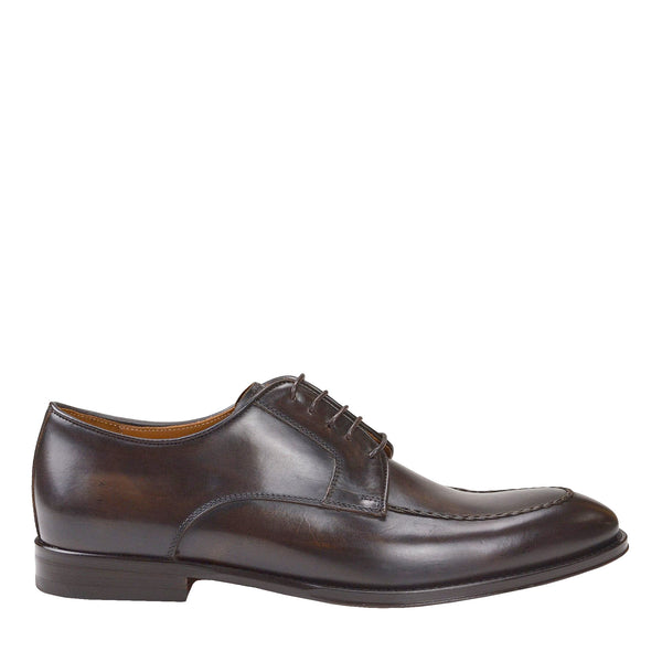 Fausto Leather Derby Shoe - Dark Brown