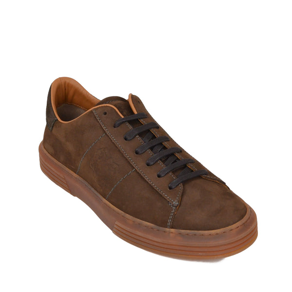 Giuliano Nubuck / Linen Sneaker  - Brown Nubuck - Soho Exclusive