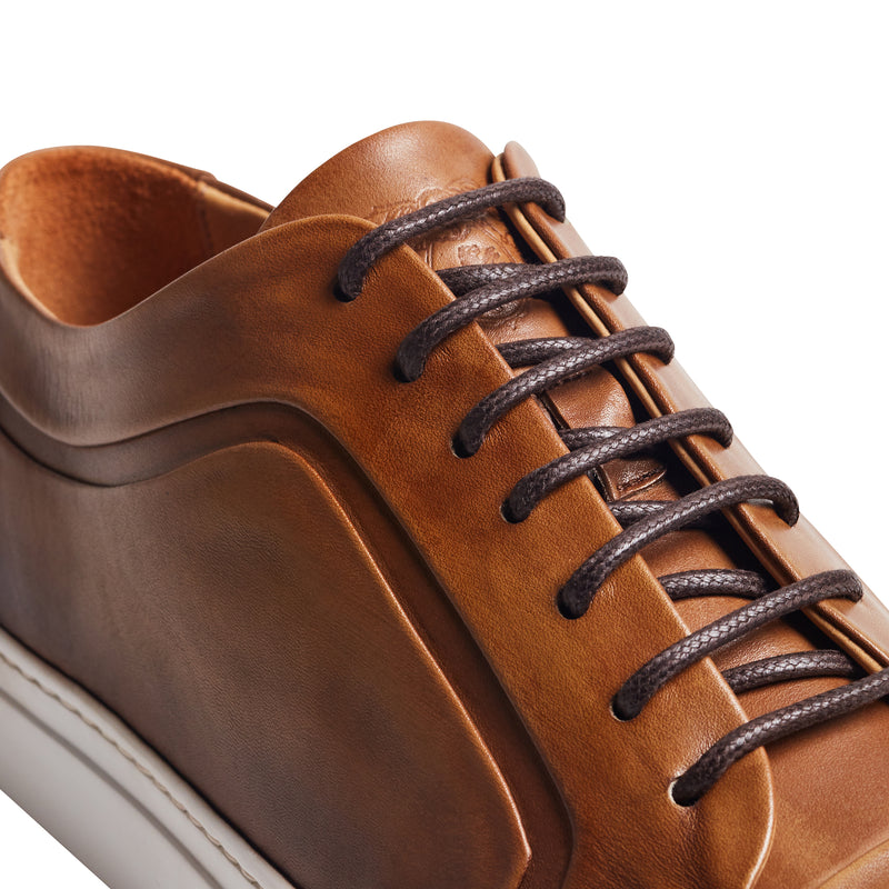 Salvini Leather Lace-up Sneaker - Dark Brown