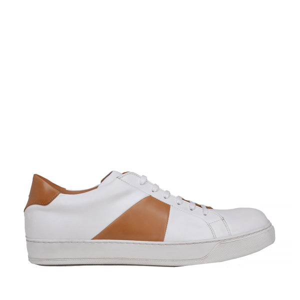 Gibo Leather Sneaker  - White/Cognac Leather - Online Exclusive