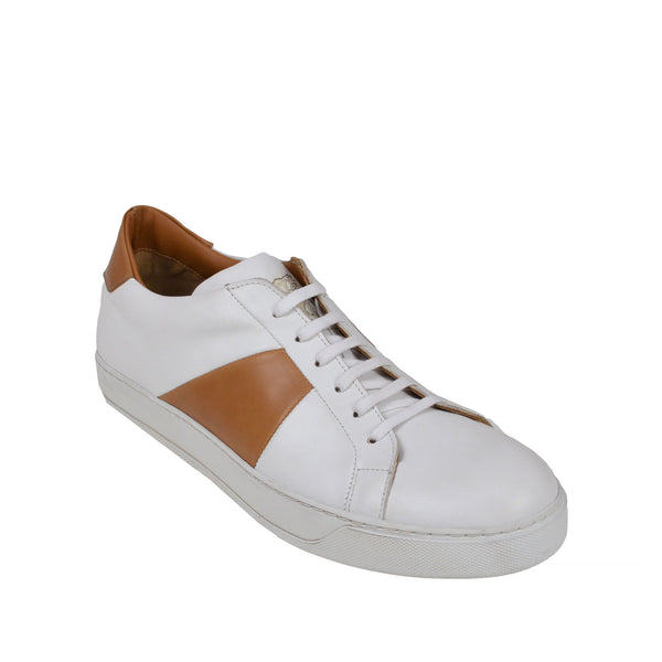 Gibo Leather Sneaker  - White/Cognac Leather - Soho Exclusive
