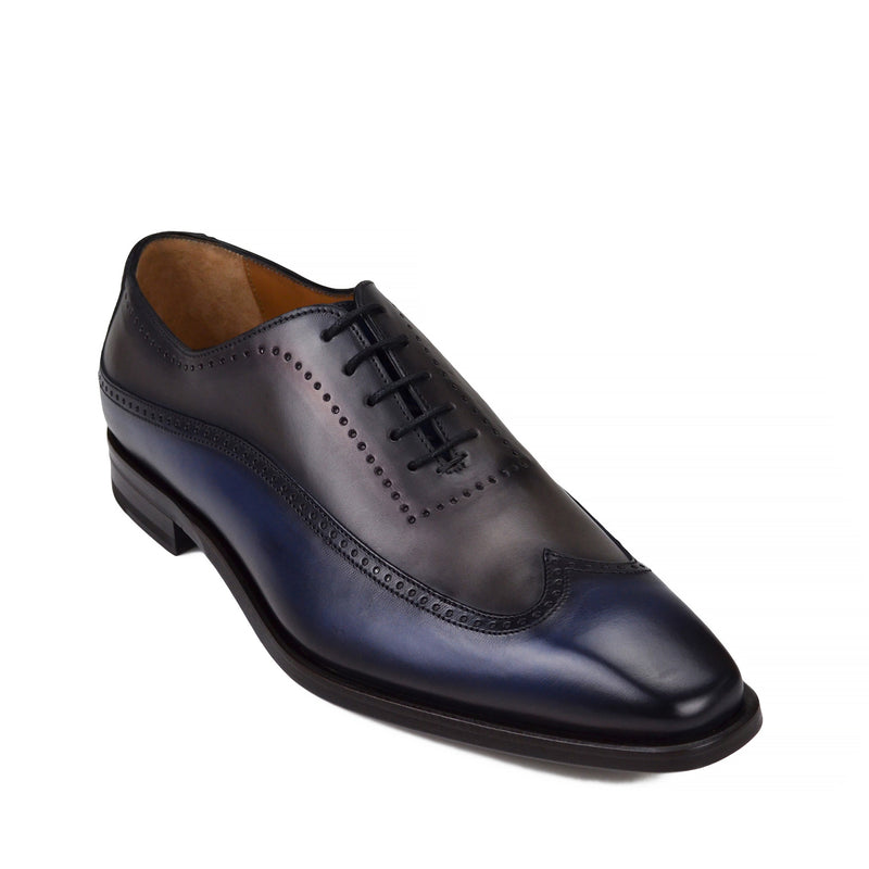 Calvino Wingtip Oxford Shoe - Navy/Grey