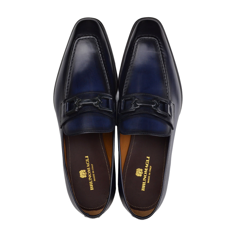 Cornelio Leather Bit Loafer - Blue