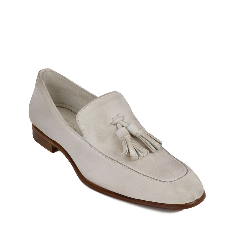 Iko Leather Tassle Loafer - Off White Leather