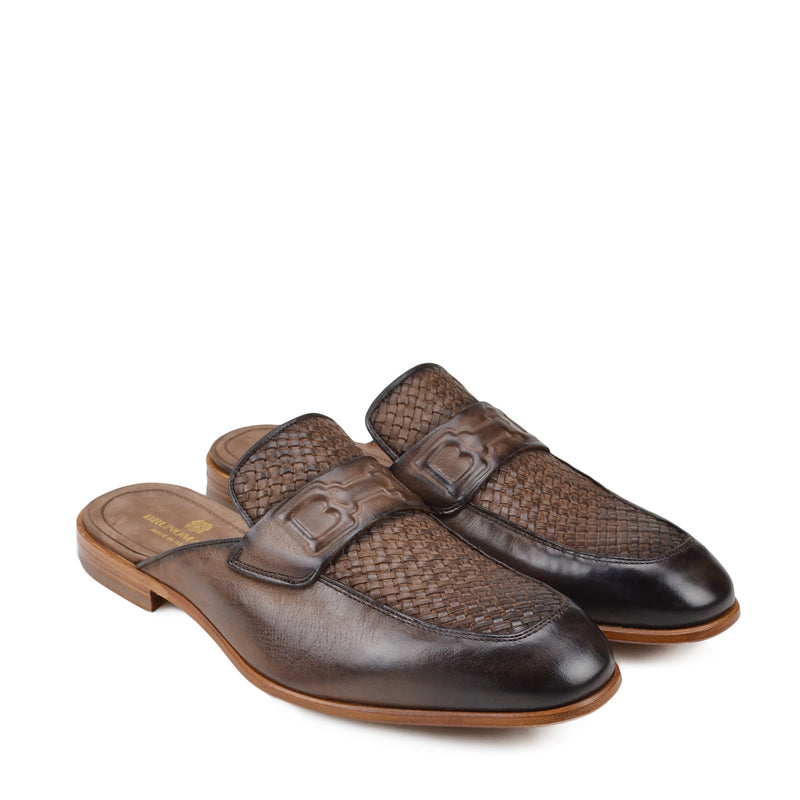 Imano Embossed Woven Leather Mule - Dark Brown