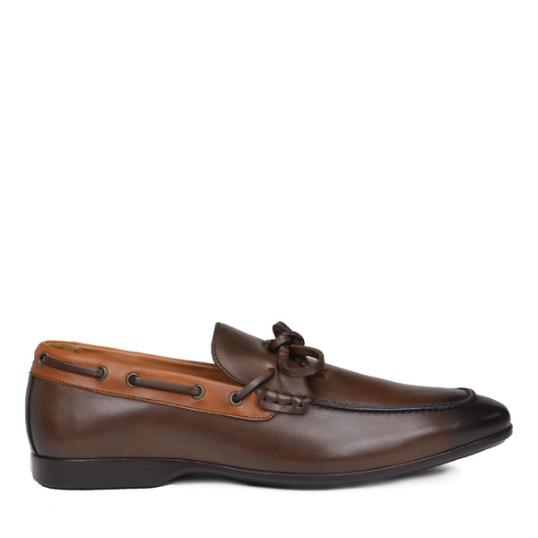 Mimo Leather Slip-On Moccasin - Dark Brown/Cognac