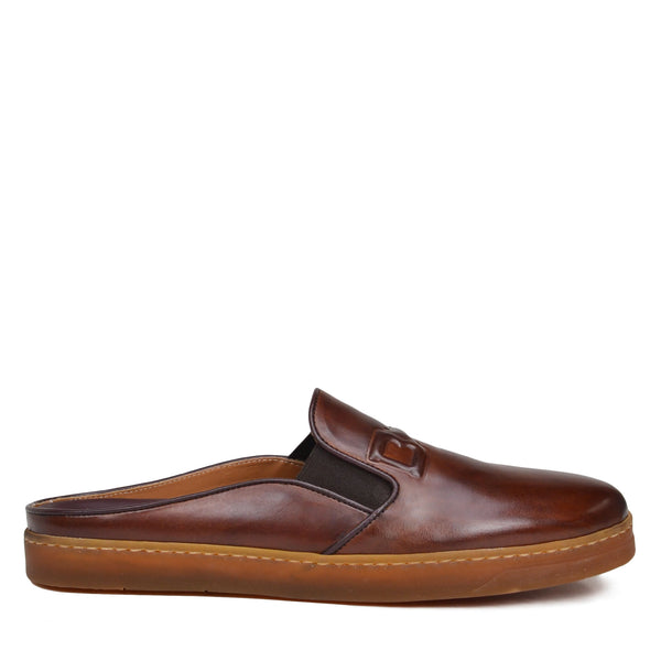 Orosco Leather Mule with Sport Sole - Cognac