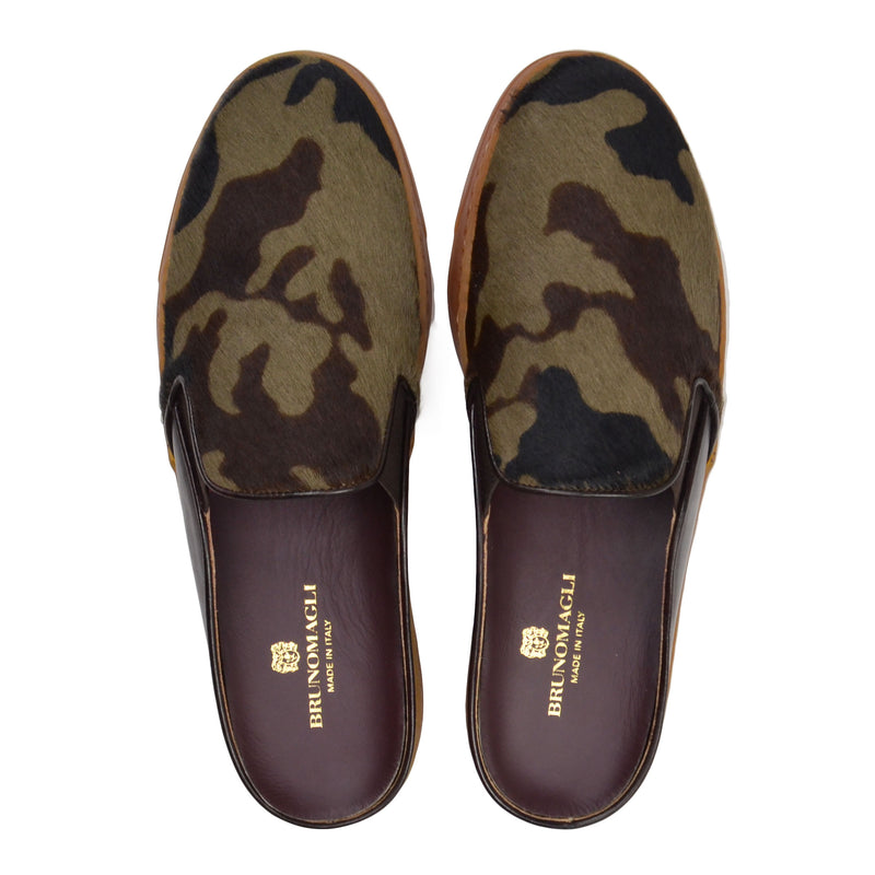 Orosco Camo-Print Mule with Sport Sole  - Camo Calf Hair