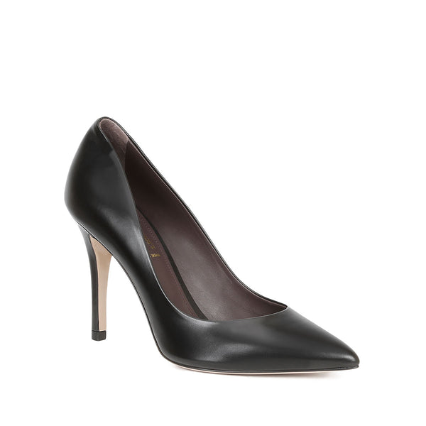 Fosca Pointed-Toe Pump, 3.5-Inch - Black Leather - FINAL SALE