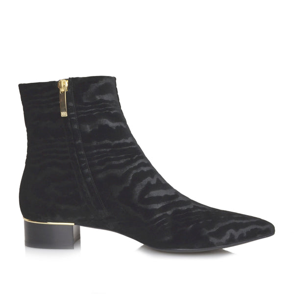 Brigitta Moire Velvet Boot, 1-Inch - Black Velvet - FINAL SALE
