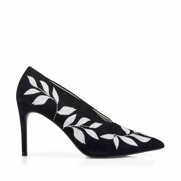 Elettra Embroidered Pump - Black Suede