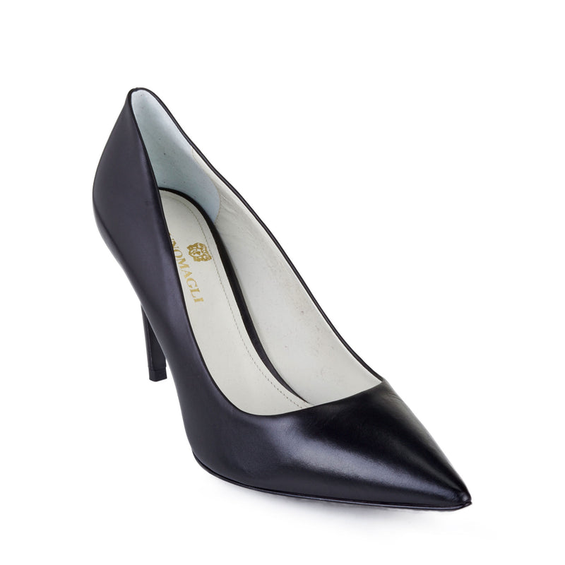 Elisa Leather Pointed-Toe Pump, 3-Inch - Black Leather