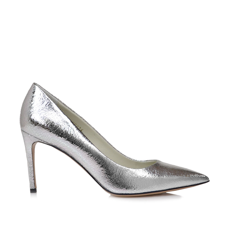 Elisa Leather Pointed-Toe Pump, 3-Inch - Silver Crackle - FINAL SALE