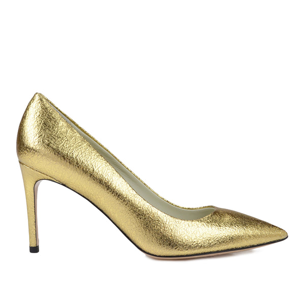 Elisa Leather Pointed-Toe Pump, 3-Inch - Gold Crackle