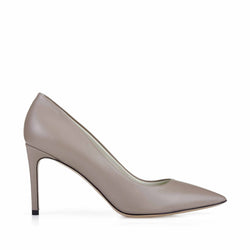 Elisa Leather Pointed-Toe Pump, 3-Inch - Taupe Leather