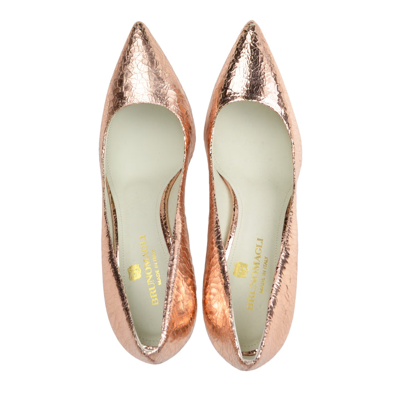 Elisa Leather Pointed-Toe Pump, 3-Inch - Rose Gold Crackle