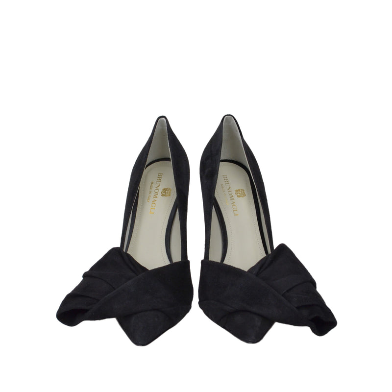 Eloise Suede Bow Pump  - Black Suede - Online Exclusive