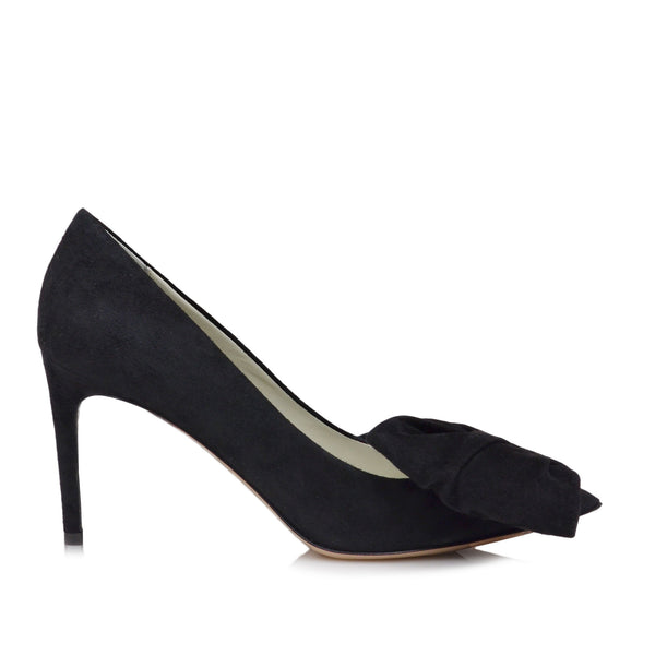 Eloise Suede Bow Pump  - Black Suede - Soho Exclusive