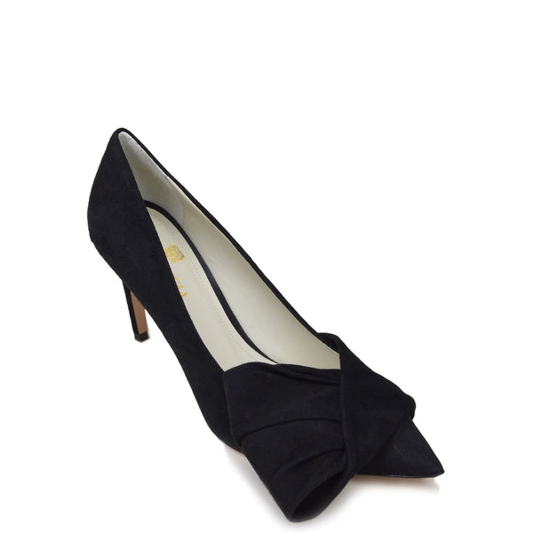 Eloise Suede Bow Pump - Soho Exclusive - Black Suede