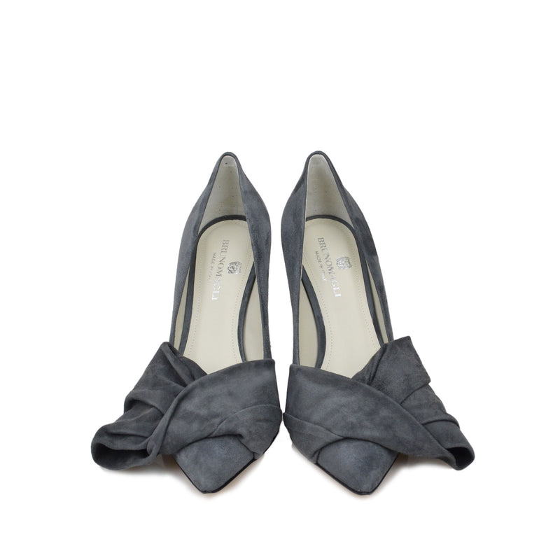 Eloise Suede Bow Pump  - Grey Suede - Online Exclusive