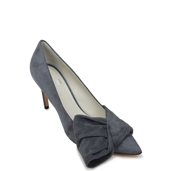Eloise Suede Bow Pump  - Grey Suede - Online Exclusive - FINAL SALE