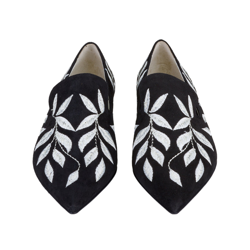 Flavia Embroidered Slip-On Loafer - Black Suede