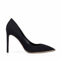 Gala Suede Pump with Metallic Profile, 4-Inch - Black Suede