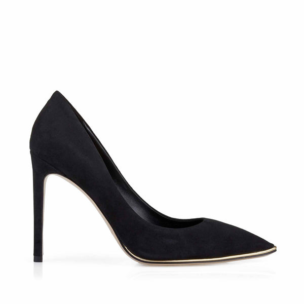 Gala Suede Pump with Metallic Profile, 4-Inch - Black Suede - FINAL SALE