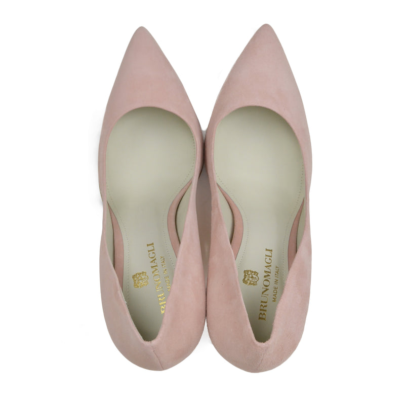 Gala Suede Pump with Metallic Profile, 4-Inch - Pink - FINAL SALE