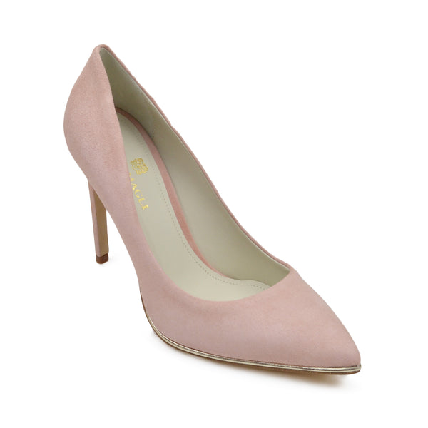 Gala Suede Pump with Metallic Profile, 4-Inch - Pink