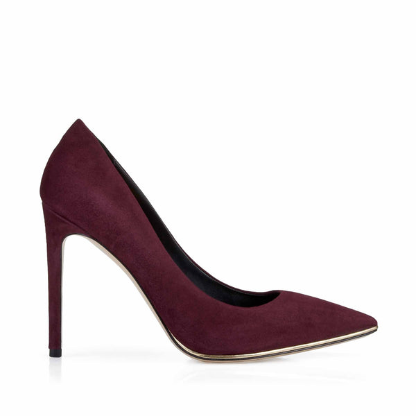 Gala Suede Pump with Metallic Profile, 4-Inch - Wine Suede - FINAL SALE