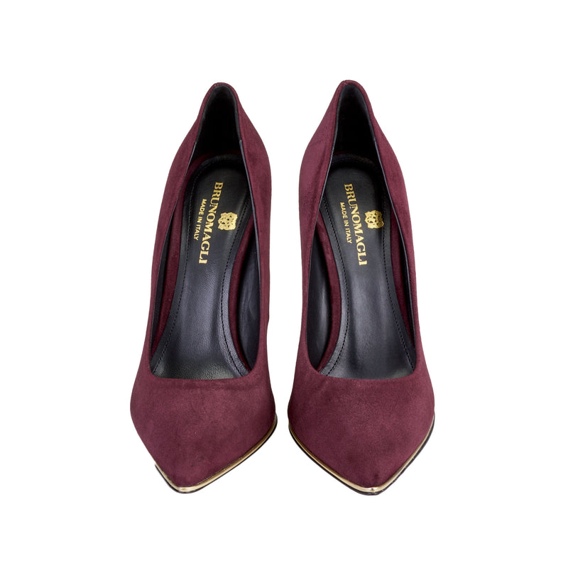 Gala Suede Pump with Metallic Profile, 4-Inch - Wine Suede