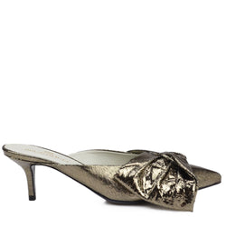 Luna Crackled Leather Heeled Mule, 2-Inch - Gunmetal