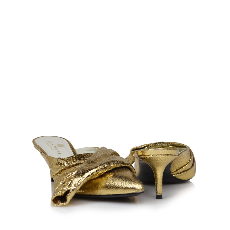 Luna Crackled Leather Heeled Mule, 2-Inch - Gold