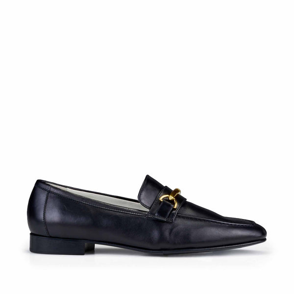 Marco Leather Flat Bit Loafer - Black Leather