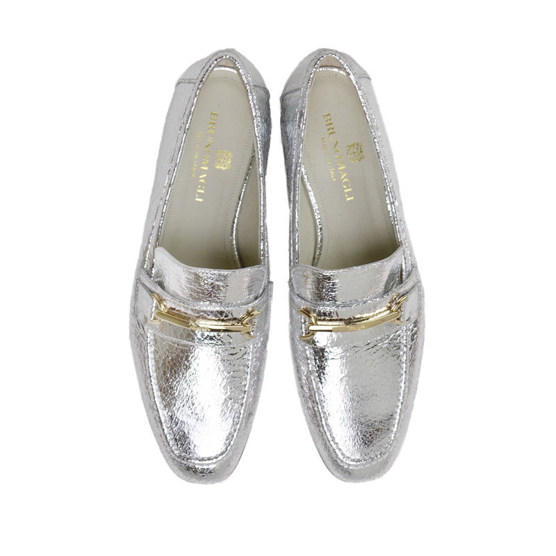 Marco Women's Leather Bit Loafer - Silver Crackle