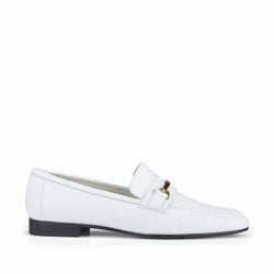 Marco Leather Flat Bit Loafer - White Leather