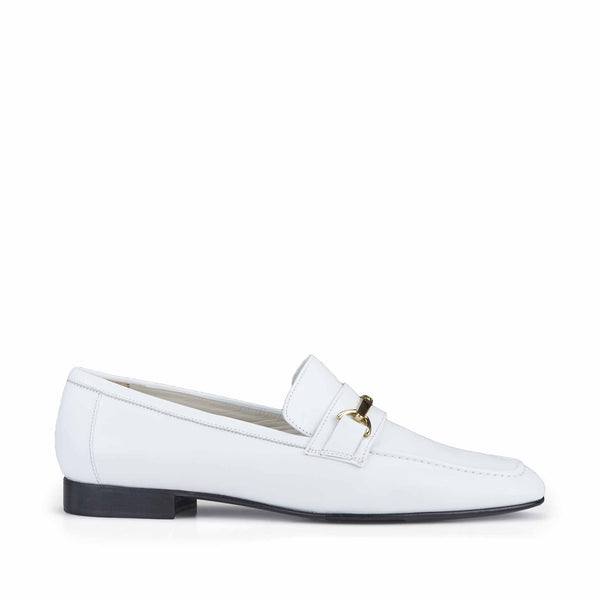 Marco Women's Leather Flat Bit Loafer - White Leather