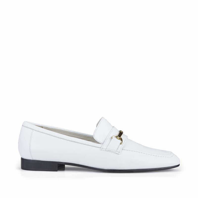 Marco Leather Flat Bit Loafer - White Leather - FINAL SALE
