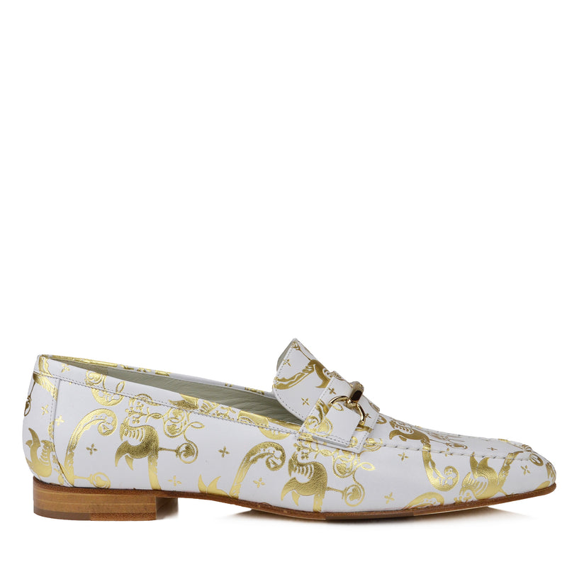 Marco Leather Flat Bit Loafer - Bone Birds - FINAL SALE