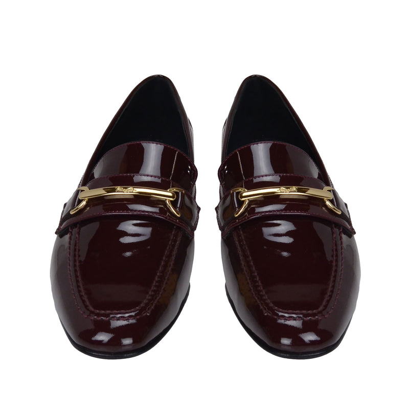 Marco Women's Patent Leather Bit Loafer - Wine Patent