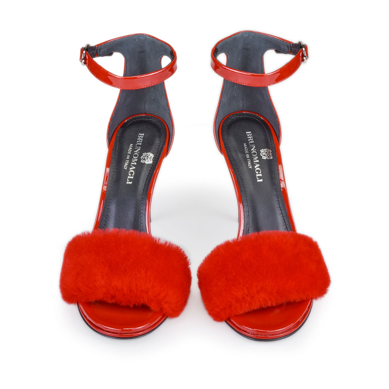 Nikita Merino Shearling Heeled Sandal, 3.5-Inch - Red Patent Leather