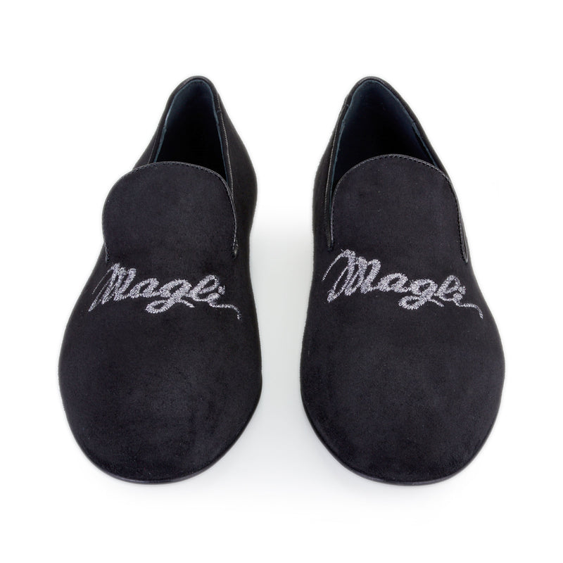 Sharon Suede Embroidered Logo Loafer - Black Suede