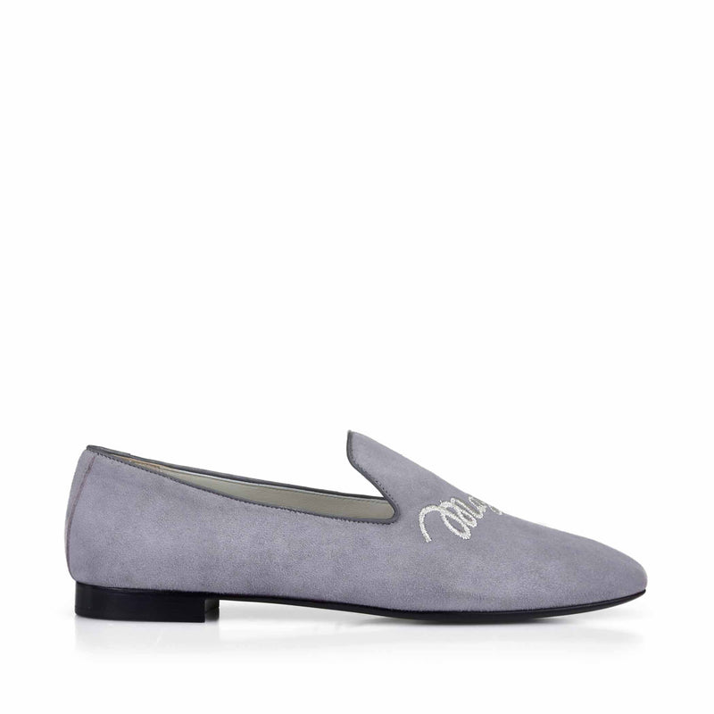 Sharon Suede Embroidered Logo Loafer - Grey Suede