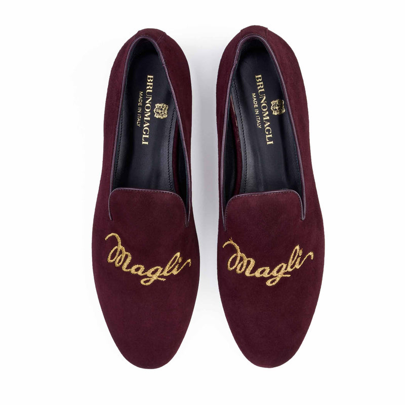 Sharon Suede Embroidered Logo Loafer - Wine Suede - Online Exclusive