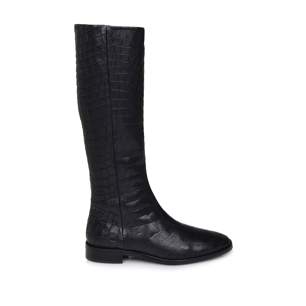 e496cc017 Camilla Croc-Print Leather Flat Boots - Black Croc-Print Leather – Bruno  Magli