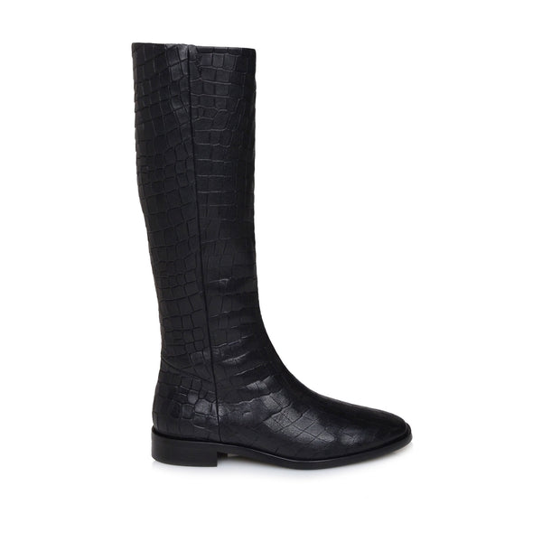 Camilla Croc-Print Leather Flat Boots - Black Croc-Print Leather - FINAL SALE