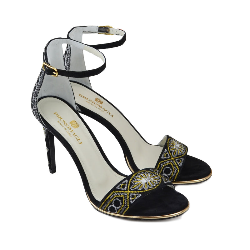 Fedora Metallic Embroidered Sandal - Black Suede