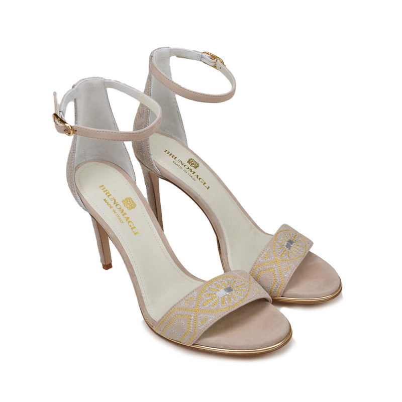 Fedora Metallic Embroidered Sandal - Beige Suede